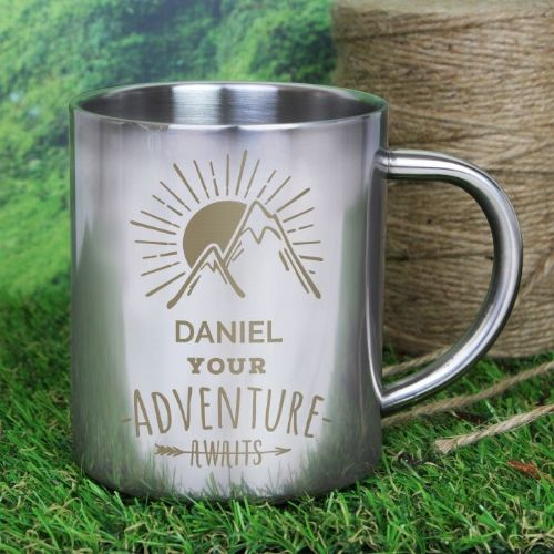 'Adventure Awaits' Metal Mug